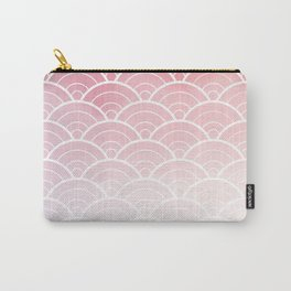 Pink Ombre Japanese Waves Pattern Carry-All Pouch