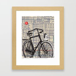 Bicycle with Mascot, S.E. 37th and Hawthorne, You Are Here, Portland. Framed Art Print