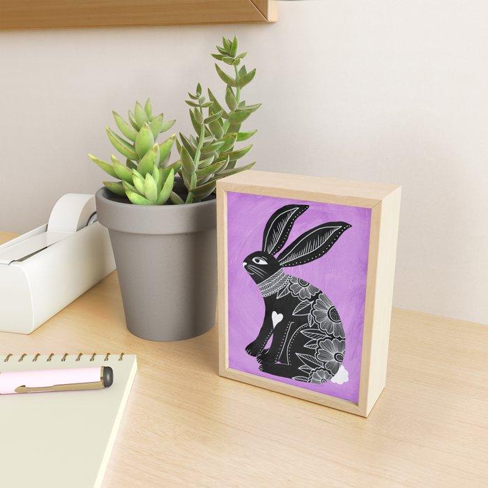 Folk Art Bunny Framed Mini Art Print