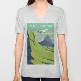 machu picchu travel poster Unisex V-Neck