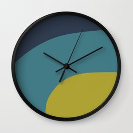 Miracle Rock in Yellow & Blue _Block Colour Wall Clock