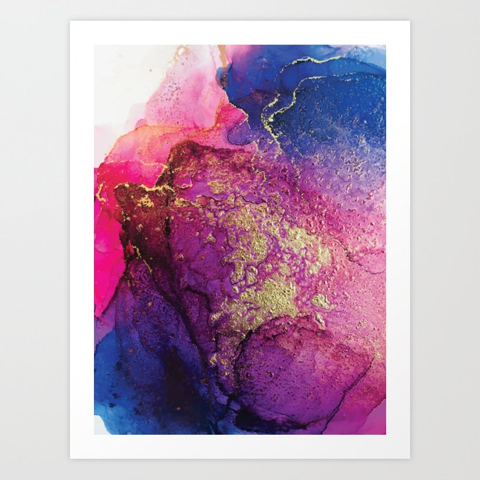 Pink, Gold and Blue Explosion Painting Kunstdrucke