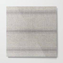 Vintage Grain sack Grey Linen  Metal Print