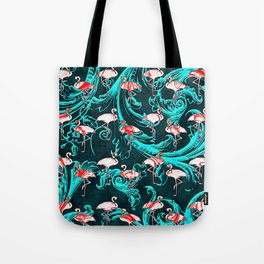 Flamingos Baroque Flourish Pattern Pink Blue Tote Bag