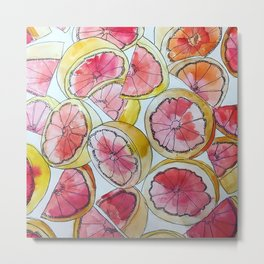 Grapefruit Watercolor Metal Print