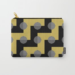Zig Zags Circles and Stripes - Yellow Black Gray White Carry-All Pouch