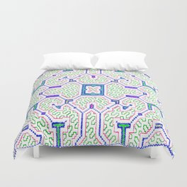 The Song to Support Spiritual Growth - Traditional Shipibo Art - Indigenous Ayahuasca Patterns Duvet Cover