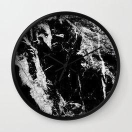 Dark marble black white stone1 Wall Clock