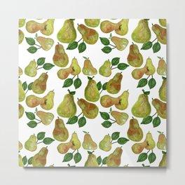 Watercolor Pears - repeat pattern Metal Print