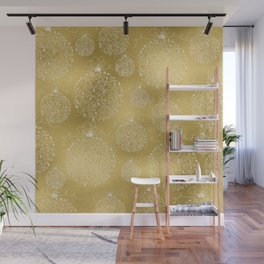 Merry christmas- christmas balls on gold pattern Wall Mural