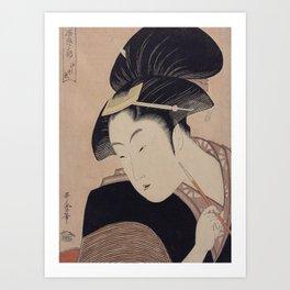 Vintage Japanese Ukiyo-e Woodblock Print Woman Portrait III Art Print