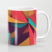 arya Mugs featuring Hexagonal Lines and Triangles by Hinal Arya