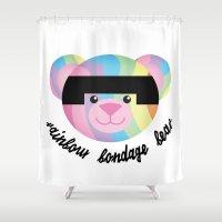 bondage Shower Curtains featuring Classic Rainbow Bondage Bear 2.0 by YOSH FRIDAY