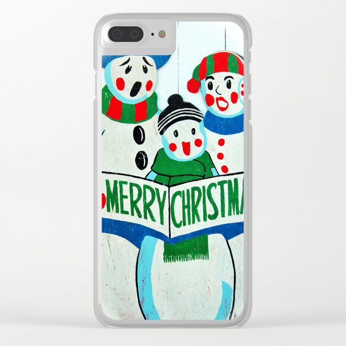 Singing Snowman Family Clear iPhone Case