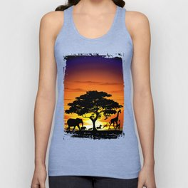 Wild Animals on African Savanna Sunset Unisex Tank Top