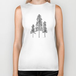 Pine Trees – Black Ink Biker Tank