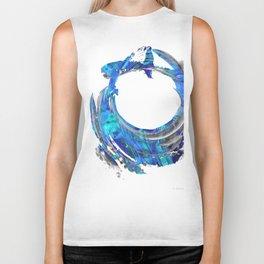 Blue and White Contemporary Art - Swirling 2 - Sharon Cummings Biker Tank