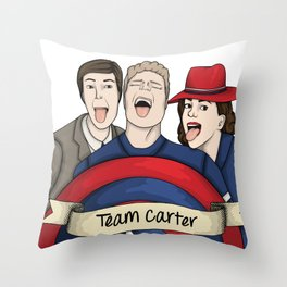 Team Carter - With Banner Throw Pillow