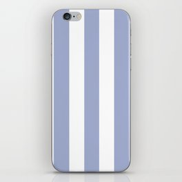 Wild blue yonder - solid color - white vertical lines pattern iPhone Skin