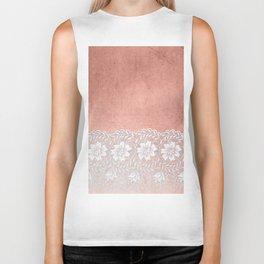 White floral luxury lace on pink rosegold grunge backround Biker Tank