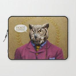 "Mr. Owl says: ""HOOT Happens!"" Laptop Sleeve"