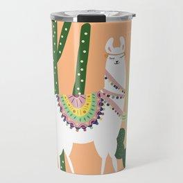 Cute Llama with Cactus Travel Mug