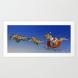 Santasaurus Rex Art Print