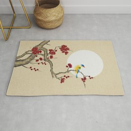 Plum blossoms, bird and the moon Type E (Minhwa: Korean traditional/folk art) Rug