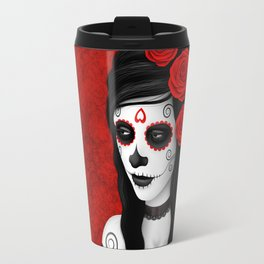 Day of the Dead Sugar Skull Girl with Red Roses Travel Mug