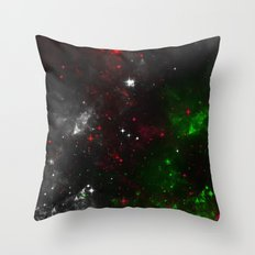 Infinite Universe 2 - Abstract Outer Space Painting In Red, Green, Purple and White Throw Pillow