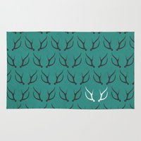 antlers Area & Throw Rugs featuring Antlers by hannahclairehughes