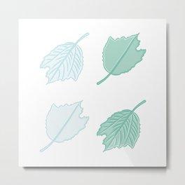 Four Silver Poplar Leaves Illustration Metal Print