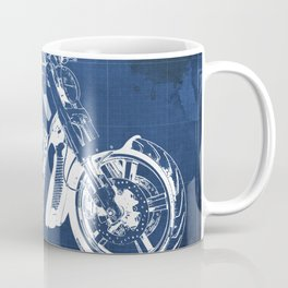 Blue motorcycle blueprint, HD VRSCF V-Rod Muscle,white line,home decor,man office, man cave decor Coffee Mug