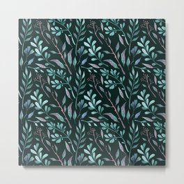 Branches with leaves on dark background Metal Print