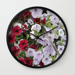 Cascade Of Petunias Wall Clock