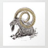 capricorn Art Prints featuring Capricorn by Dennis Wilder