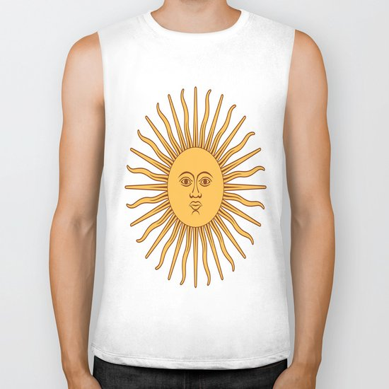 argentina flag sun Biker Tank
