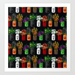 Halloween Mason Jar Bouquets Art Print