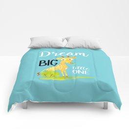 Dream Big Little One Watercolor Giraffe Nursery Quote Comforters