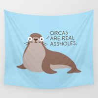 seal Wall Tapestries featuring Seal of Reproval by David Olenick