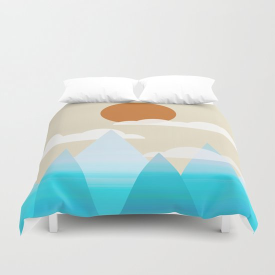 Sun, Clouds and Mountains Duvet Cover