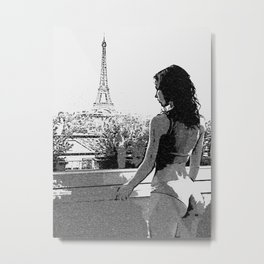 Eiffel Tower and the Beauty, sexy girl in Paris, hot woman in lingerie, grayscale artwork Metal Print