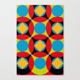 Very colorful circles, squares, intersections, geometrical fantasy. Canvas Print