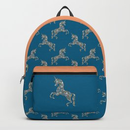 Floral Unicorn in Blue + Coral Backpack