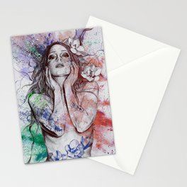 The Withering Spring: Wine (nude tattooed girl with flowers) Stationery Cards