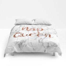 Nap queen - rose gold on marble Comforters