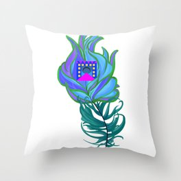 21st Century Peacock Feather Throw Pillow
