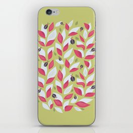 Pretty Plant With White Pink Leaves And Ladybugs iPhone Skin