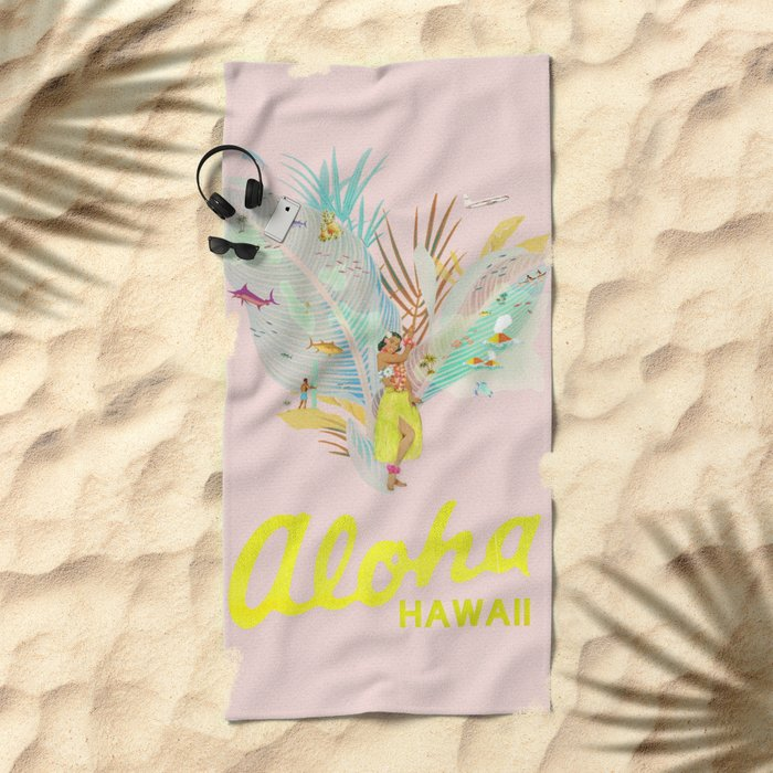 Aloha, Hawaii (Pink) Beach Towel