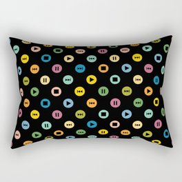 Music Player Icons Polka Dots (Multicolor on Black) Rectangular Pillow